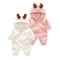 Wholesale Kids Fleece Jumpsuit - Christmas Kids Clothing 2017 Boys and Girls Deer Rompers Babies Fleece Hooded Jumpsuits Baby Boys Autumn Casual Clothes