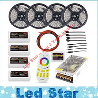 Wholesale Led Rgb Controller Wifi - 20m WIFI mi light led strip lighting RGBW RGB RGBWW 5050 12V + 4pcs Controller +4 Zone group remote + Power adapter Free ship