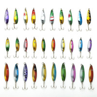 Wholesale Mixed Set Hard Fishing Lure - Hot 30Pcs Lot Fishing Lure Kit Set Mixed Color Size Weight Diving Depth 3-6G Metal Spoon Lure Fishing Tackle Bait Isca Artificial