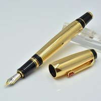 Wholesale gold nib fountain pen - High Quality Gold metal Fountain pen with gem school office stationery luxury Writing 4810 nib ink pens for Gift MT1094088