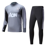 Wholesale Shinny Top - top quality 2017 2018 Survetement football man tracksuit training kits Soccer Chandal 17 18 united training shinny tight pant sweater suit