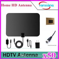 Wholesale Power Amplifier Cable - 50pcs Amplified TV Antenna- High Performance Digital HDTV Antenna with Detachable Amplifier Power Supply and 13ft Coax Cable YX-TX-1