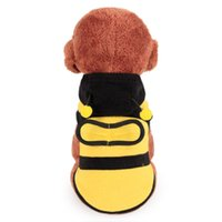 Barato Cão Listras-Cute Bee Pet Clothes Lovely Bee Wings Costume Puppy Hoodie Inverno Casaco Filhote de cachorro Vestuário Dog Stripe Sweater Natal Roupa para cães YFA192