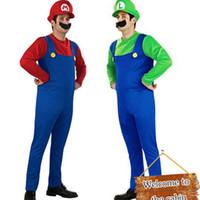 disfraces super hombres al por mayor-Disfraces de Halloween Hombres Super Mario Luigi Hermanos traje de plomero mono de lujo Cosplay ropa para hombres adultos