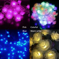 Atacado- Mais recentes Bateria Operada Rose String Lights 5m 40 LED Flower Fairy Light String para Indoor e Outdoor Holiday Light