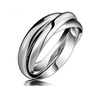 Wholesale Shops Stainless Steel Jewelry - Fashion Day Jewelry jewellery shop fashion design good quality Triple Tone Tri-Roll Links Stacked triple band silver rings tri-color rings