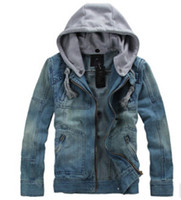 Wholesale Mens Denim Jackets Hoods - Fall-Free shipping Hot sales mens denim jacket With Detachable Hood Mens Hoodies jacket All sizes