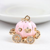 Wholesale Princess Carriages - Cute Big White Princess Pumpkin Carriage Crystal Charm Keychain Key Ring Alloy Key Chains Accessories Free Shipping
