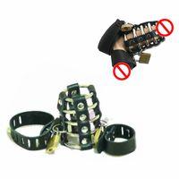 Wholesale Bondage Belts Leather Locking - Bondage Gear Leather Male Chastity Belt CB Device Black Men Cock Lock Bird Cage for 3000 6000 4000 6000s Sexy Testicle Restrain