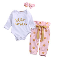 Wholesale Baby Onesies Girl Pink - 3PCS Baby Christmas Boutique Girl Clothes Kids Clothing Set Toddler Outfit Infant Romper Suit Onesies Jumpsuit Dot Legging Pants Headband