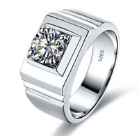 Wholesale Round Solitaire White Sapphire Ring - Size 7 8 9 10 11 12 13 Classic Mens Jewelry Round Solitaire White Sapphire Band Silver Ring