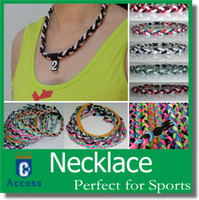 Wholesale Necklace Roping - New titanium braided 3 ropes tornado necklaces for SPORTS football baseball