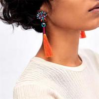 Wholesale Tassel Wedding - Best lady 2017 New Fashion Statement Jewelry Tassel Long Earring For Women 2 Colors Wedding Dangle Drop Earrings Wholesale 5141