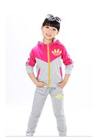 Wholesale Kids Jackets Gray - 2017 1pcs Spring Autumn Baby Girls jogging Clothes Jacket sweatpants Kids Hoodies Pants Tracksuit For Girls Clothing Sets Sport Suit cqtz003