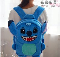 Wholesale Lilo Stitch Plush Backpack - Wholesale-Gift for baby 1pc cartoon cute Lilo Stitch soft Satchel plush backpacks travel bag funny kindergarten cool boy birthday gift