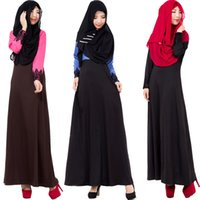 Wholesale 016 Muslim women s ethnic wind color matching long sleeve loose dress Dresses Malaysia
