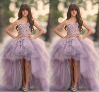 Wholesale Custom Hi Low Pageant Dresses - 2018 New Lavender High Low Girls Pageant Gowns Lace Applique Sleeveless Flower Girl Dresses For Wedding Tulle Puffy Kids Communion Dresses