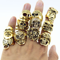 Wholesale Horn Pieces - Wholesale- 12 Piece lot Wholesale Mix Big Skull Ring in Jewelry Gold Plate Top Quality Bohemian Statement Punk Ring for Men Free Shipping