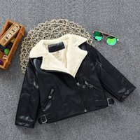 Wholesale Leather Jackets For Babies - 2016-2017 Newest Fashion Leather Kids Jackets Soft Wool Thicken Boys Girl Coats For Winter Baby Birthday Clothing 90--120