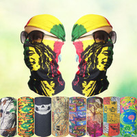 Wholesale Hiphop Scarf - 50pcs Seamless Hiphop Hair Scarf Skull Scarf Riding Scarf Outdoor Sports Men And Women Scarves Scarf Mask Bob Marley Rock Magic Bandana