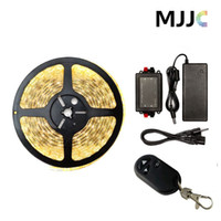Wholesale 12v Dimmable Led Lighting Controller - Dimmable Warm Cool White LED Strip Light Kit Waterproof 12V 5M 300 SMD 5050 + RF Wireless Remote Controller +12V 5A 60W Power Adapter