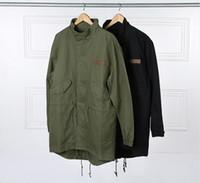 ingrosso uomini di trincea nera-coreano giacca uomo vendita calda del Giappone cappotto giacca a vento kanye ovest nero / verde lungo stile militare trench europeo uomini