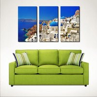 Wholesale Blue Metal Wall Art - 3 Picture Combination-Mediterranean - Blue Lagoon, Santorini, Greece - Metal Mural On Canvas Print Art Wall Sculpture Decor