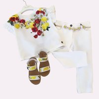 Wholesale Girl Short Flowers - PrettyBaby 2016 summer girls white lemon two-pieces sets T-shirt trousers lemon flower printed short sleeves Tshirt free shipping