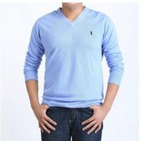 Wholesale Row Shirt - Wholesale-New Arrival V-Neck Plus Men's Cashmere Pullovers Casual Sweaters Pure Color Basic T-Shirt Men Woolen Sweater Free shipping
