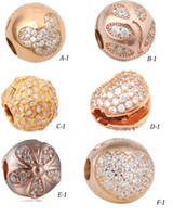 Wholesale rose gold clip charm - 925 sterling silver cz cute european rose gold clip beads Compatible with pandora bead Bracelets