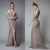 Wholesale Gold Evening Dresses Rhinestones - Berta Front Split Evening Dresses Rhinestones Sleeveless Plunging Neckline Prom Dress Backless Floor Length Formal Evening Gowns