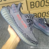 Wholesale Woven Shoes For Men - With Box Kanye West Sply 350 Boost 350 V2 GRIS TROIS LTHTTY NOIR RES ROUGE Running Shoes for Men Flying Woven Air Sneakers Women