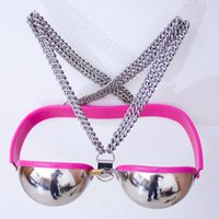 Wholesale Sexy Female Chastity Devices - Female Sexy Stainless Steel Bra Chastity Belt Device Bondage Restraint BDSM Sex Toys For Couples Sex Products