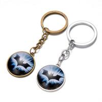 Wholesale American Animation - Superhero Batman keychain Time Gem Keychain European and American animation film jewelry Retro fashion keychain 240344