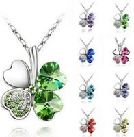 Wholesale Clover Flower Necklace - Crystal Happiness Clover petal necklace Four Leaf Clover crystal rhinestone necklace necklaces 50cm 18