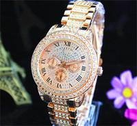 mode worte großhandel-Mode Uhren Michael-Quarz-Uhr-beiläufige voller Stahl Dial Style Frau über den ganzen Himmel Sterne Kristall-Diamant-Rom Wort Wählscheibenstil Uhren