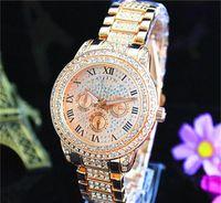 diamantes llenos al por mayor-Relojes de moda Reloj de cuarzo michael Casual Estilo de esfera de acero completo mujer En todo el cielo estrellas Cristal Diamante Reloj de esfera con estilo de Roma