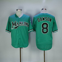 Wholesale Black Marlin - Men FLORIDA Marlins Jerseys 8# Andre Dawson Jersey Flexbase Cool Base Home Away White Red Black Grey