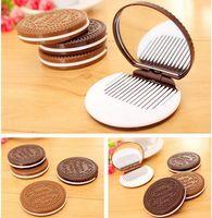 mini-kämme großhandel-2016 Kakao Kekse Taschenspiegel Mini Nette Schokolade Tasche Tragbare Handspiegel mit Kamm Makeup Tools 2 Farben Dhl-freies Drop Shipping