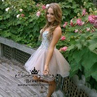 Wholesale Cheap Modest Bling Prom Dresses - Bling Bling Crystals Short Homecoming Dresses For Juniors Modest Sweetheart Lace Up 2018 Cheap Custom Plus Size Prom Dresses Fast Shipping