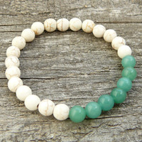ingrosso braccialetti della boemia-SN0334 New Bohemia Jewelry Wholesale Women Mens Unisex Bracelet Meditation Yoga bordato howlite braccialetto verde avventurina
