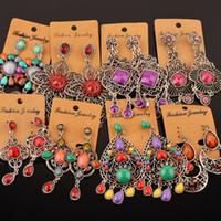 Wholesale Vintage Gems - 2016 Vintage Fashion Earrings alloy rhinestone gem wholesale statement earrings New fashion boho jewelry for women earing many styles
