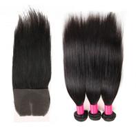 Wholesale Top Wholesale Malaysia - Brazilian Straight Hair Weaves with 1 Top Lace Closure 100% Natural Human Hair Extensions Brazilian Peruvian Malaysia Mongolian Hair Bundles