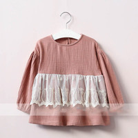 Wholesale Vintage Lace Tee - Everweekend Girls Lace Floral Embroidered Tees Vintage Korea Sweet Fashion Children Blouse Cute Baby Autumn Clothing