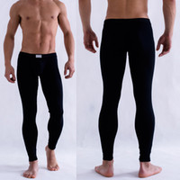 Großhandels-Männer Solid Color Long Johns Unterwäsche Low Rise Legging Thermal PantsTrousers
