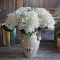 DIY 2pcs 1 Bouquet Pure White Francês flor de seda Hydrangea Artificial arranjo do quarto Home Decor Festa