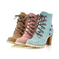 Wholesale Large Size High Heel Boots - 2016 New Winter Fashion Slip Martin Boots Rivet Large Size High-heeled Short Boots