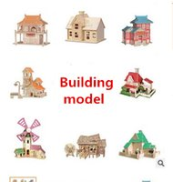 Wholesale Assembly Papers - 3D wooden jigsaw building housing 3D model DIY self-assembly action figure puzzle pieces children's Christmas presents