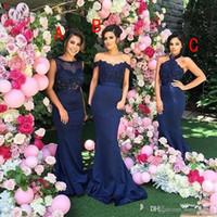 parte superior formal del cordón de la marina de guerra al por mayor-2017 Vestidos de dama de honor de sirena azul marino Top de encaje vintage con cuentas Una línea Vestidos largos de dama de honor Vestidos de boda formales para invitados