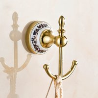 metal europe nail hot selling bathroom accessories gold plated european antique bronze ceramic robe hook - Gold Bathroom Accessories Uk